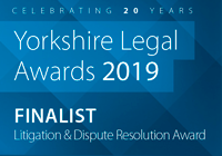 Finalist for The Yorkshire Legal Awards 2019 - Litigation